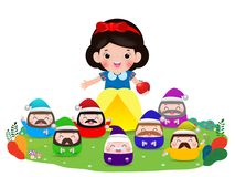 Free Snow White And The Seven Dwarfs, Snow White Isolated On White Background, Princess And Dwarfs And Witch, Vector Illustration Stock Images - 153447674