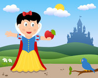 Snow White with the Apple. Fairy tale scene: Snow White with the poisoned apple in a country landscape with a castle in the background. Eps file available Stock Image