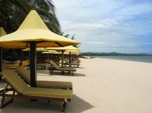 Snow-white beach Mui Ne. Resort Mui Ne, beach rest by the South China Sea Royalty Free Stock Image