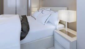 Snow-white bed design Royalty Free Stock Photo