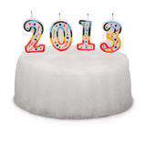 Snow White cake with candles. 2013. (Clipping path) Royalty Free Stock Image