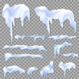 Snow white capes and piles transparent realistic set isolated vector illustration. Realistic icicles with snow set on transparent background. Vector illustration royalty free illustration
