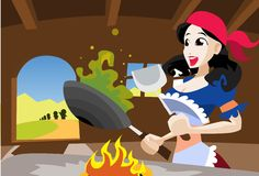 Snow White Cooking Supper Royalty Free Stock Images