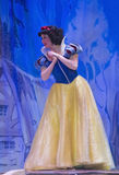Snow White at the Disney Princess Show. GREEN BAY, WI - FEBRUARY 10: Snow White standing in a blue and yellow dress at the Disney Princesses show at the Resch Royalty Free Stock Images