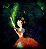 Snow White fairytale illustration. Snow White poisoned by the apple of the evil witch Royalty Free Stock Photography