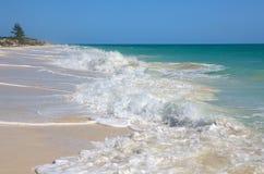 Snow-white foam of the Caribbean Sea. Stock Photos