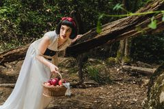 Snow White is in the forest escaping from some danger. She carries a basket full of apples royalty free stock photo