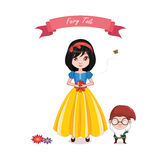 Snow white girl with a dwarf vector illustration