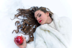 Snow white girl poisoned apple Royalty Free Stock Photography