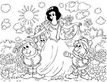 Snow White and Gnomes vector illustration