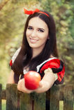 Snow White Holding a Red Apple Fairy Tale Portrait Stock Photos