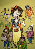 Snow White. Illustration of Snow White with bruises and messy seven dwarfs Stock Images