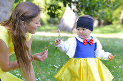 Snow white with mother Royalty Free Stock Photos