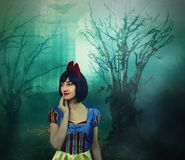Snow White in the mysterious forest. Artistic processing.  stock image