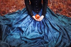 Snow White princess with the famous red apple Royalty Free Stock Photography