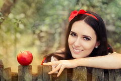 Snow White with Red Apple Fairy Tale Portrait Royalty Free Stock Image