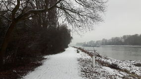 Snow white. River Rhein and snow Royalty Free Stock Images