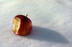 Snow White`s apple on the snow. Snow White`s apple on the snow of Switzerland. The apple is half eaten and abandoned after the girl`s poisoning royalty free stock images