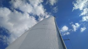 The snow-white sails of the yacht against the background of bright blue sky and white clouds royalty free stock photo