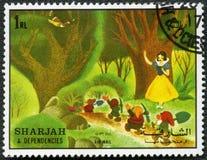Snow White and the seven dwarfs, 1972 stock illustration