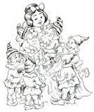 Snow White and Seven Dwarfs stock illustration