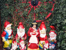 Snow White and the Seven Dwarfs in a garden of the fairy tale town Steinau a.d.Straße, Germany Stock Photo