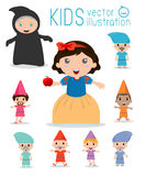 Snow white and the seven dwarfs, Snow White, Princess and Dwarfs and witch. Vector Illustration Royalty Free Stock Images