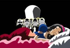 Snow White Sleeping On The Bed Stock Photo