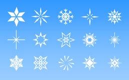 Snow - White Snowflakes On Blue Stock Photos