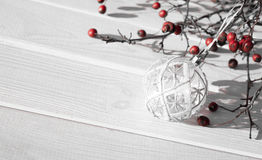 Snow-white winter. White background and festive Christmas decorations Stock Images