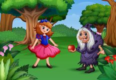 Snow white and the witch in the forest stock illustration