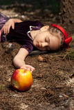 Snow White With Apple, Litle Girl Stock Images