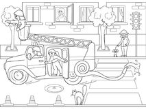 Snow White in the woods with animals. Nursery tale, cartoon, coloring book black lines on a blank background. Fire engine is driving around the city. Nursery Stock Images