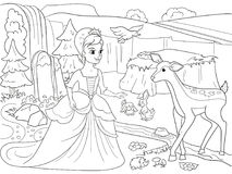 Snow White in the woods with animals. Tale, cartoon, coloring book black lines on a blank background. Vector illustration Royalty Free Stock Photos