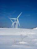 Snow and wind turbines Stock Image