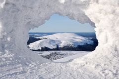 Snow window in Lapland Stock Photo