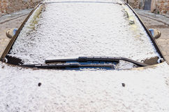 Snow in the windshield Royalty Free Stock Images