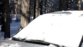 Snow on a windshield stock footage