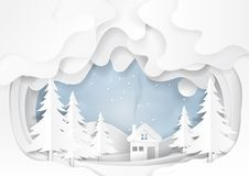 Snow and winter background paper art. White house on snow winter background.For merry christmas and happy new year paper art style.Vector illustration Stock Images