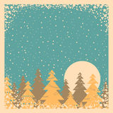Snow Winter Card Illustration On Old Poster Stock Photography