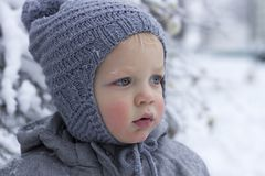 Snow winter close up portrait of cute toddler Stock Images