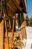 Snow winter cottage from outside ski poles Stock Photography
