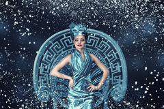 Snow winter fashion woman portrait Royalty Free Stock Images
