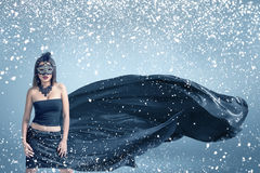 Snow winter fashion woman portrait Stock Photo