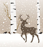 Snow winter forest landscape with deer. Abstract vector illustration of winter forest.birch tree Royalty Free Stock Image