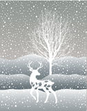 Snow winter forest landscape with deer. Abstract vector illustration of winter forest. tree. Snow winter forest landscape with deer. Abstract vector illustration stock illustration