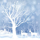Snow winter forest landscape with deers. Abstract  illustration of winter forest. Royalty Free Stock Photos