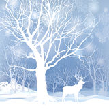 Snow winter forest landscape with deers. Abstract  illustration of winter forest. Royalty Free Stock Image