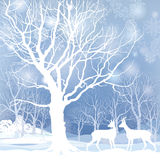 Snow winter forest landscape with deers. Abstract  illustration of winter forest. Royalty Free Stock Photography