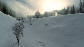 Snow winter landscape holiday vacation tourism resort recreation stock video